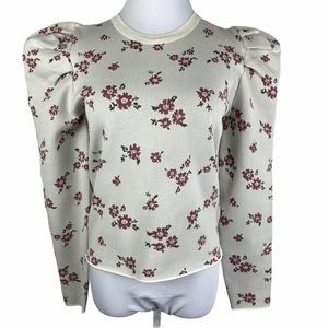 Kiss the Stars White Pink Floral Puffy Sleeve Top